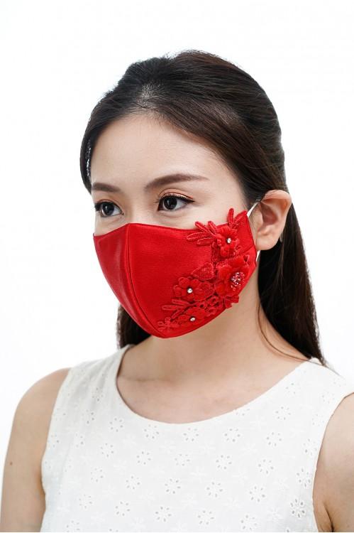 Ear Loop - 3D Lace Mask (Scarlet Red)