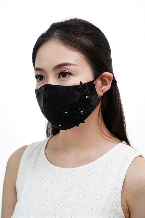 Ear Loop - 3D Lace Mask (Black)