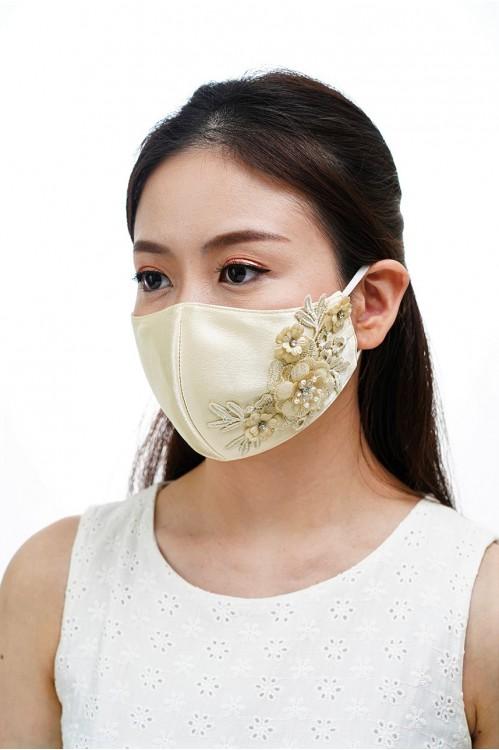 Ear Loop - 3D Lace Mask (Light Gold)