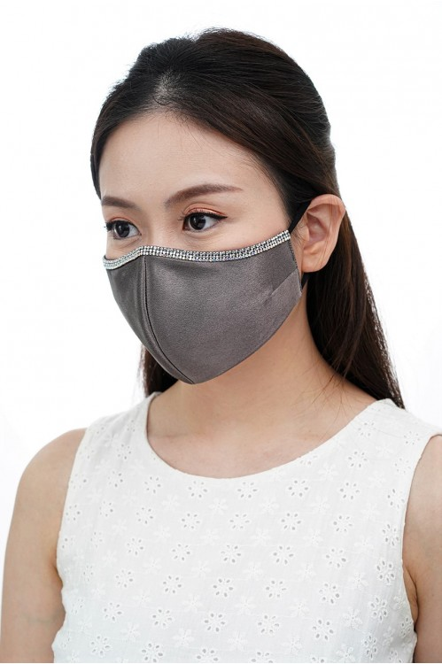 Ear Loop - Satin Silk Crystal Mask (Charcoal)