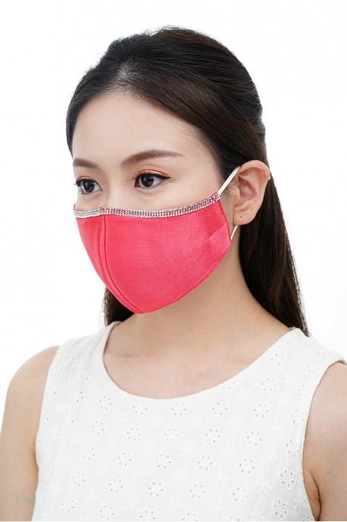 Ear Loop - Satin Silk Crystal Mask (Electric Pink)