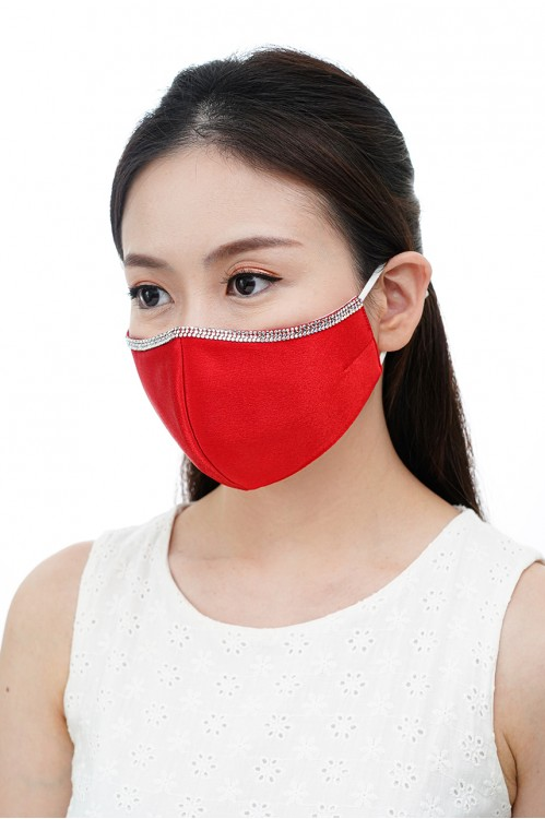 Ear Loop - Satin Silk Crystal Mask (Scarlet Red)