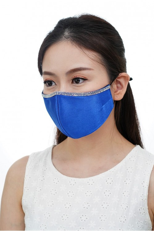 Ear Loop - Satin Silk Crystal Mask (Royal Blue)