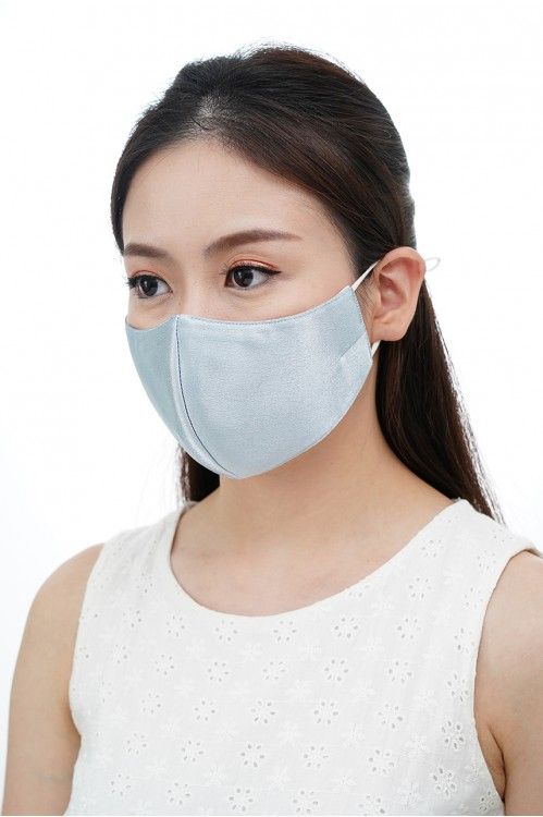 Ear Loop - Satin Silk Mask (Silver Blue)
