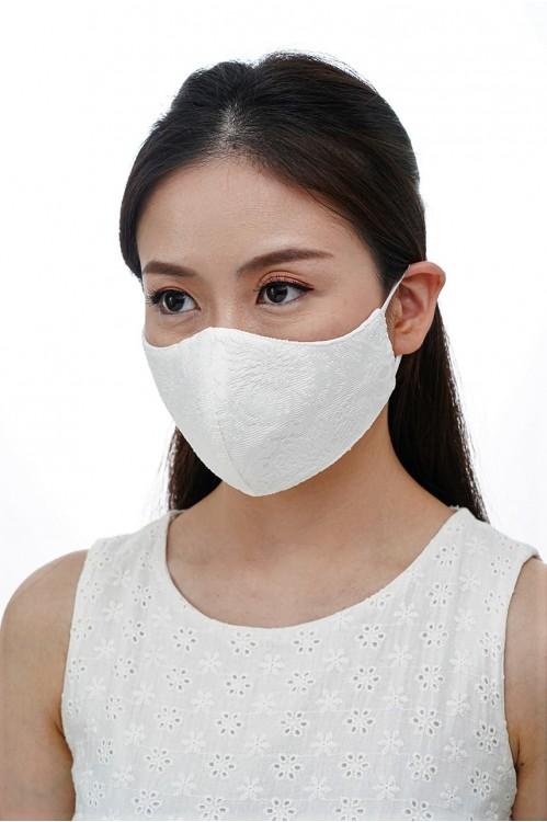 Ear Loop - Embossed Lace Mask (White)