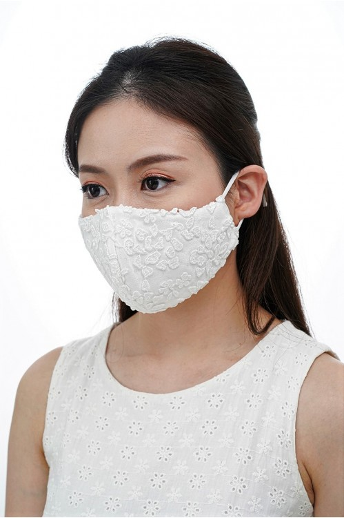 Ear Loop - Sequined White Lace Mask