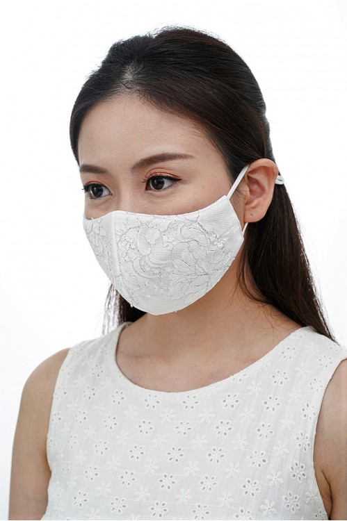 Ear Loop - Silver-lined Lace Mask (White)