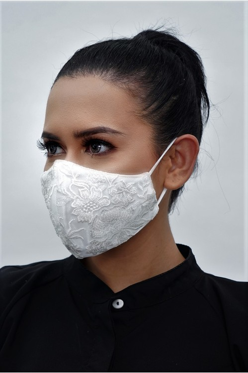 Ear Loop - Beaded White Lace Mask