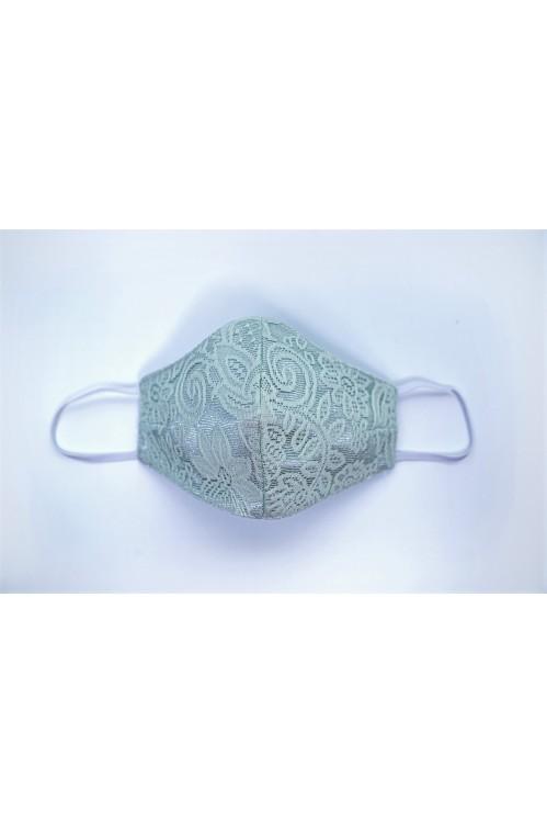 Ear Loop - Embossed Lace Mask (Apple Green)