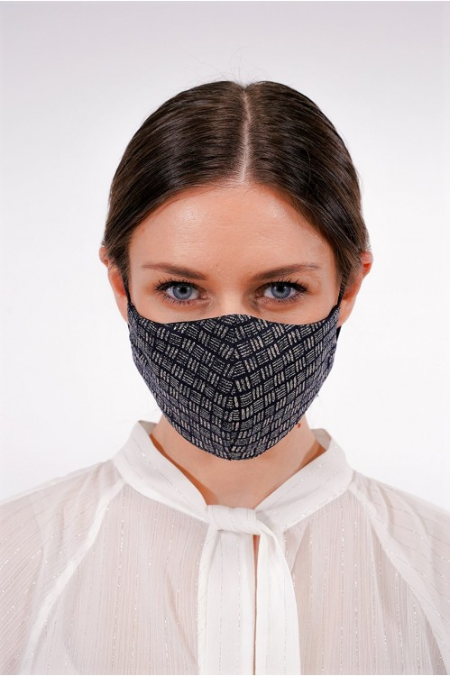 Ear Loop - Japanese Linen Mask (Indigo/Abstract)