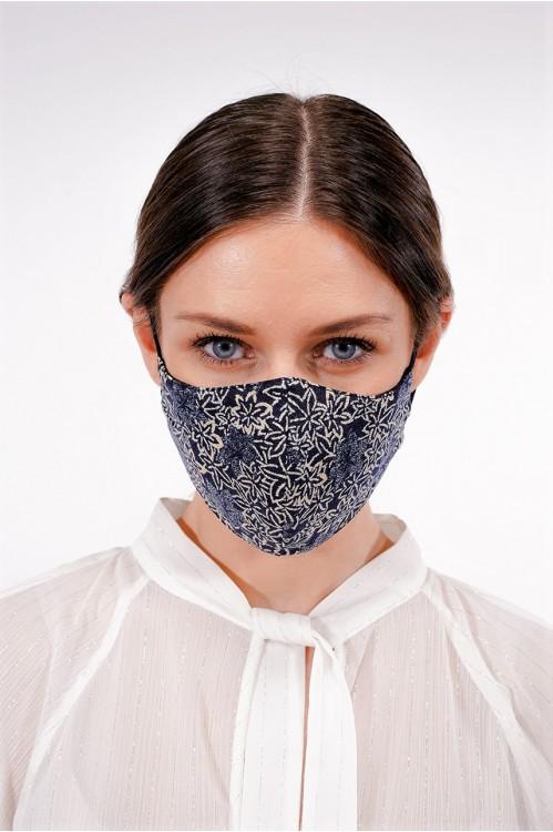 Ear Loop - Japanese Linen Mask (Indigo/Florals)