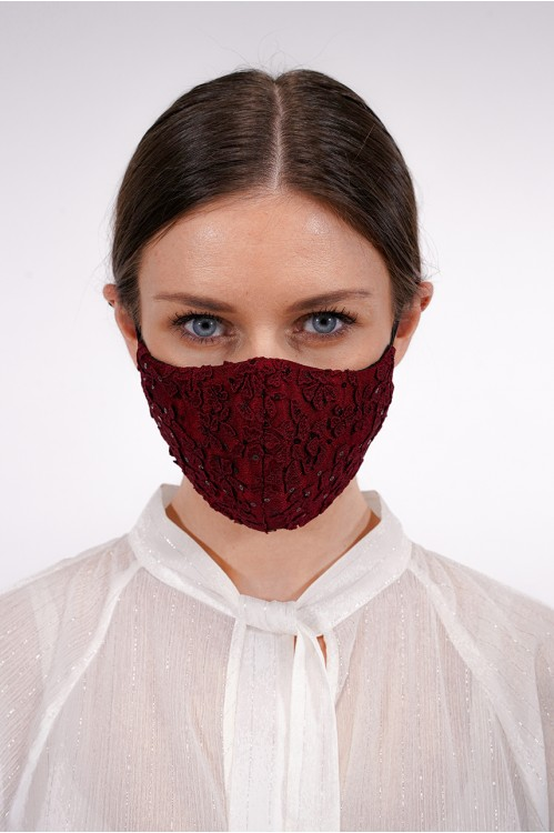 Ear Loop - Sequined Lace Mask (Maroon)
