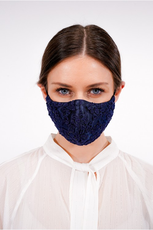Ear Loop - Sequined Lace Mask (Navy)