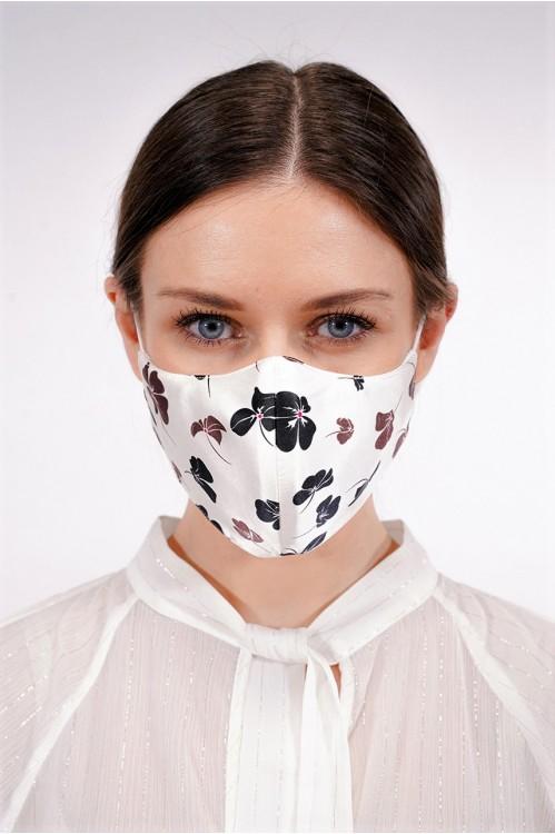 Ear Loop - Printed Silk Mask (Offwhite)