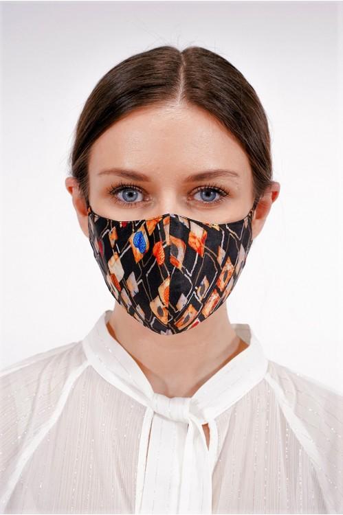 Ear Loop - Printed Silk Mask (Black/Orange)
