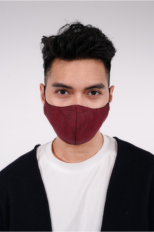 Men's - Gabardine Cotton Mask (Maroon)
