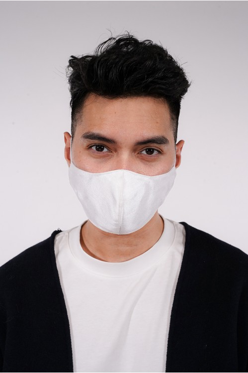 Men's - Shantung Silk Mask (White)