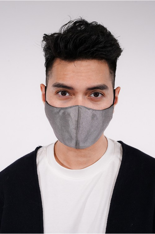 Men's - Shantung Silk Mask (Grey)