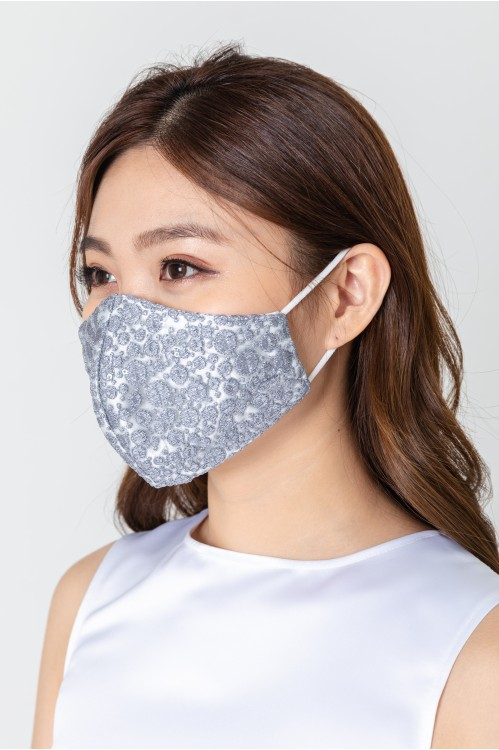 Ear Loop - Dotted Lace Mask (Grey)