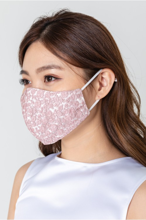 Ear Loop - Dotted Lace Mask (Pink)