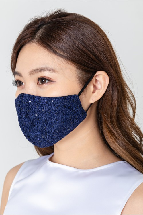 Ear Loop - Intricate Lace Mask (Navy)
