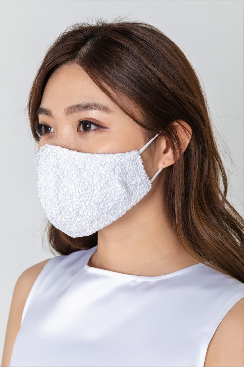 Ear Loop - Intricate Lace Mask (White)