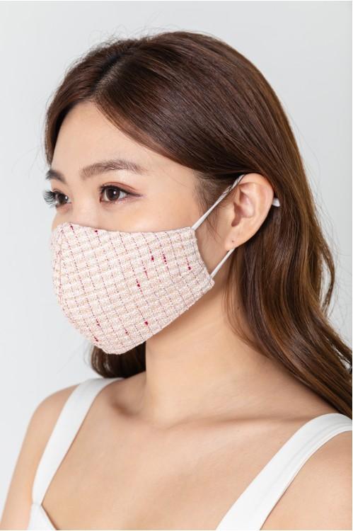 Ear Loop - Gold-Lined Tweed Mask (Pink)
