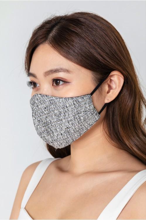 Ear Loop - Gold-Lined Tweed Mask (Black)