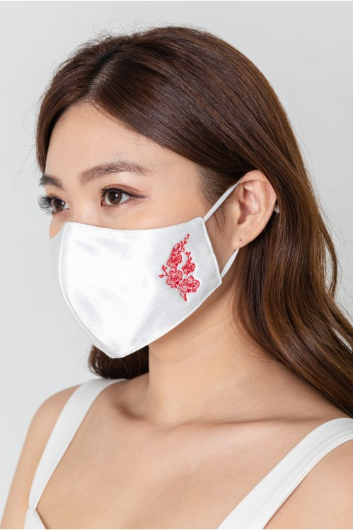 Ear Loop - Embroidered Orchid Mask
