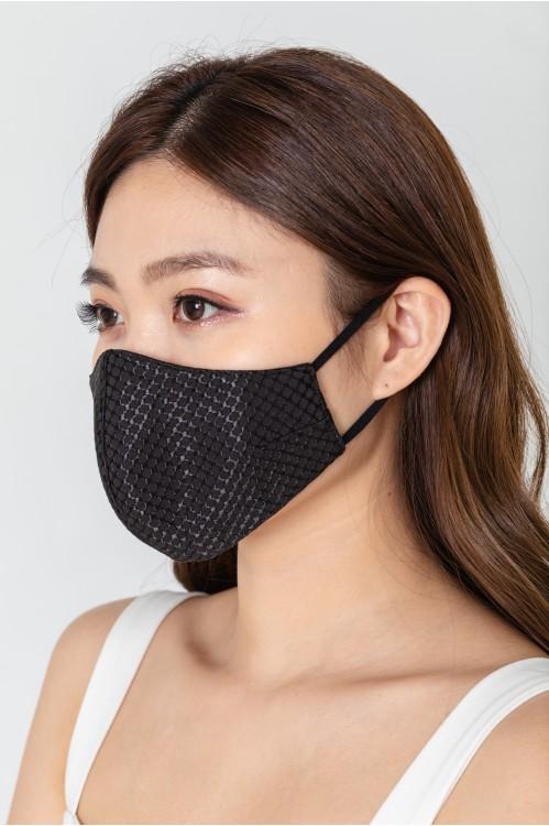 Ear Loop - Embossed Black Mask