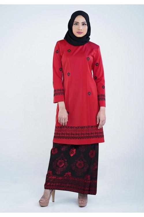 Embroidered Baju Kurung (Red)