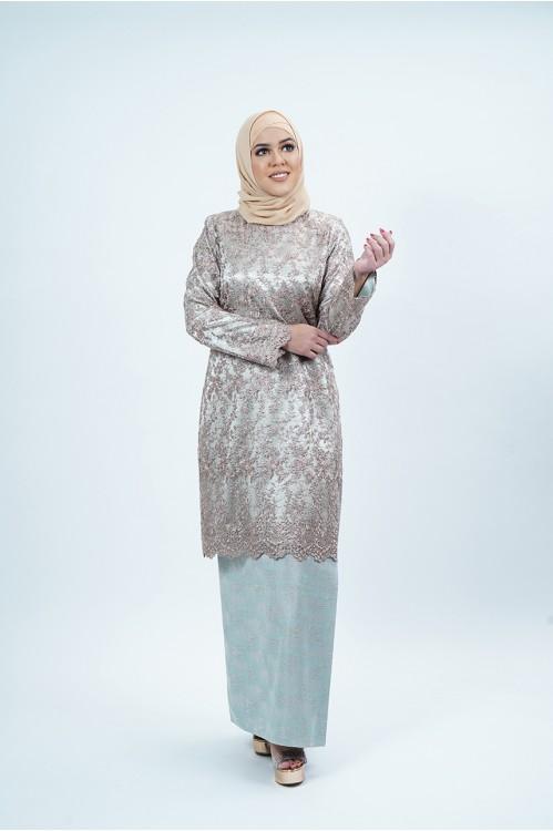 Lace Baju Kurung (Light Olive)