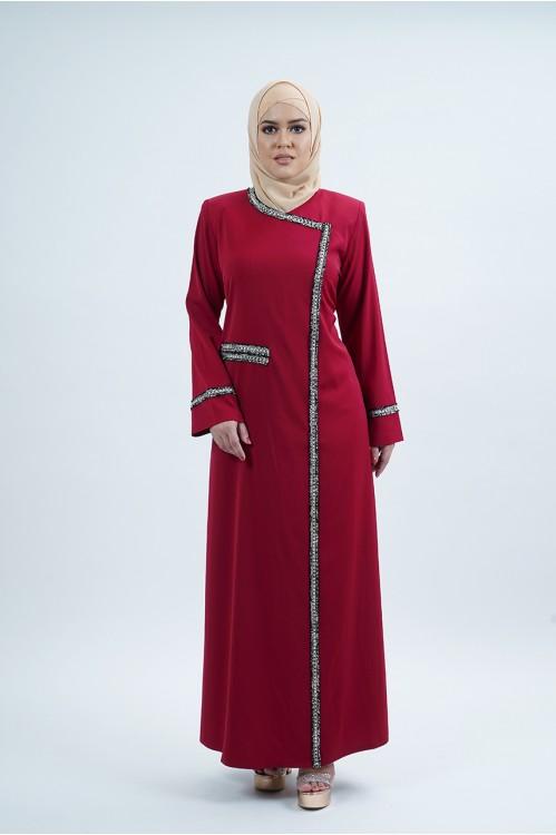 Tweed Trim Jubah (Maroon)