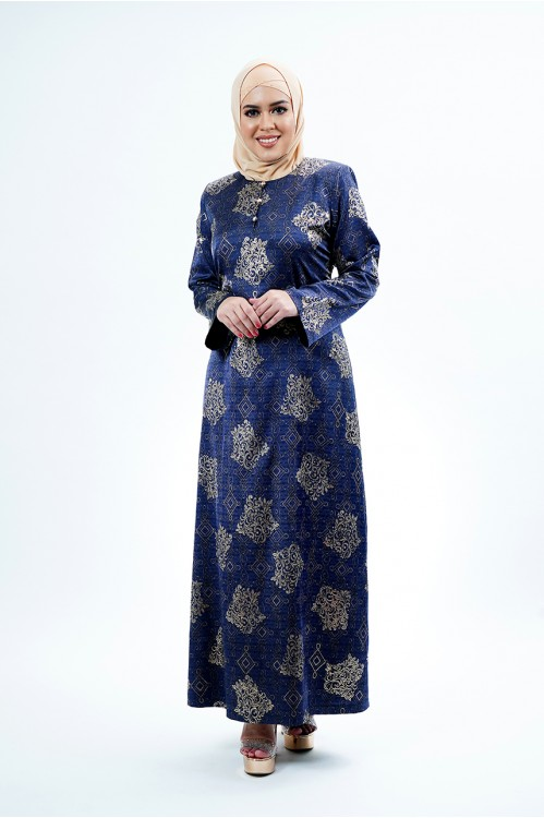 Gold-lined Abstract Jubah (Navy)