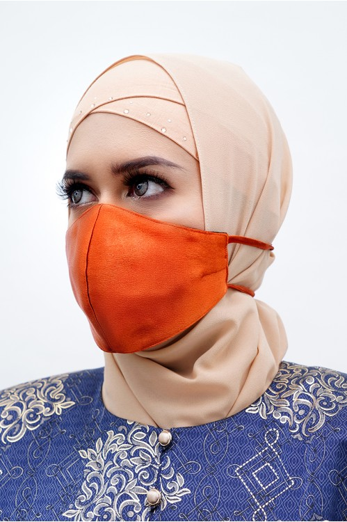 Tie Back - Satin Silk Mask (Burnt Orange)