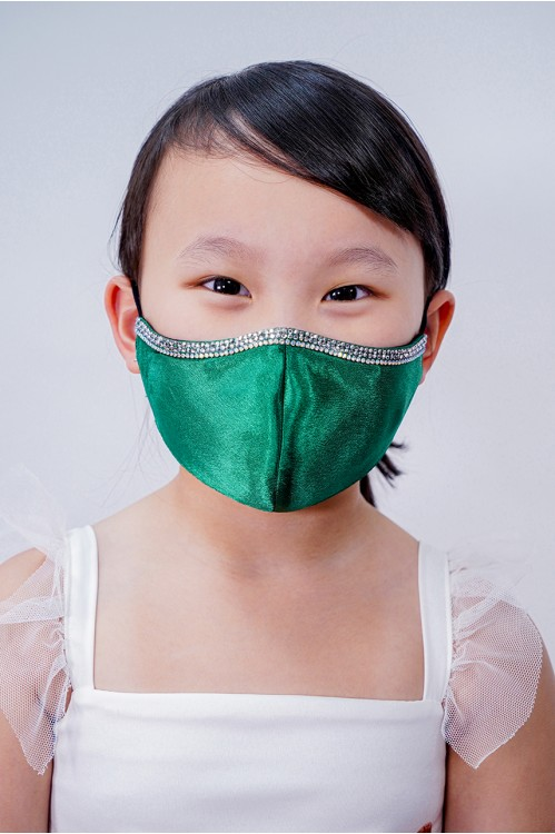 Kids - Silk Satin Crystal Mask (Emerald)
