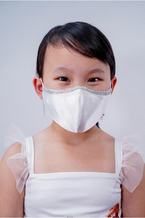 Kids - Silk Satin Crystal Mask (White)