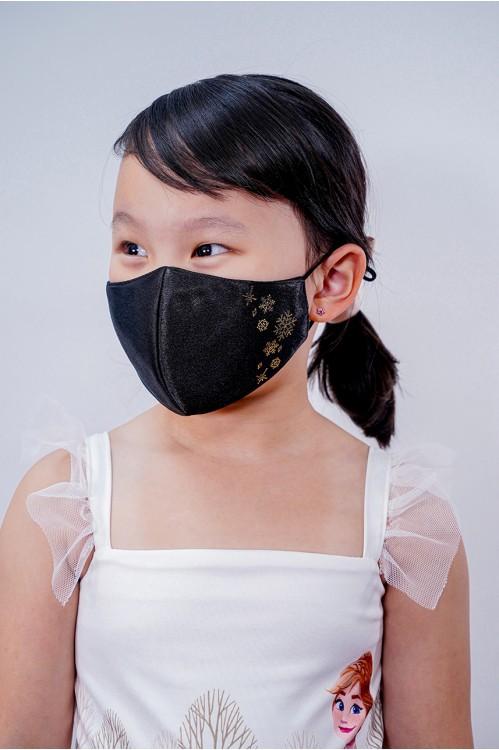 Kids - Silk Satin Snowflake Mask (Black)