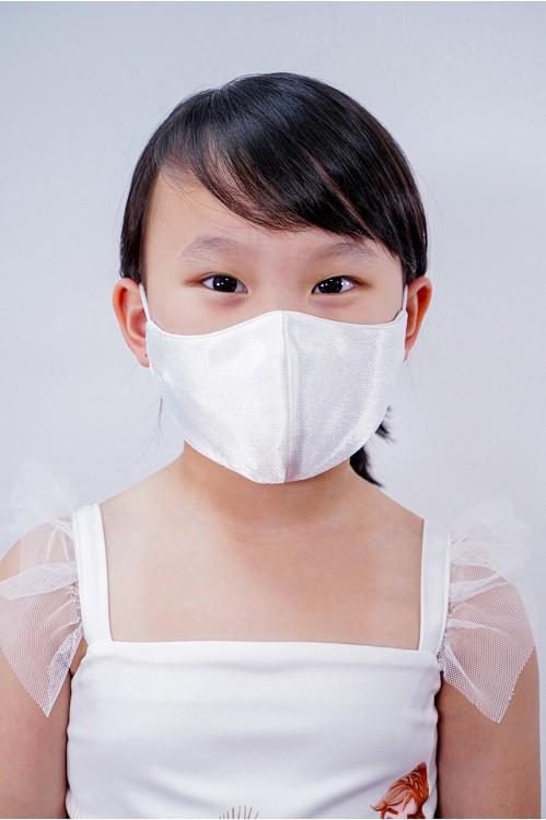 Kids - Silk Satin Mask (White)