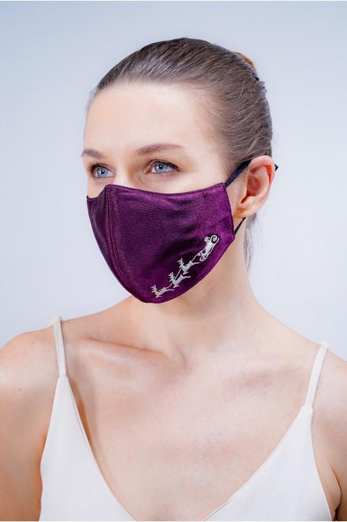 Ear Loop - Reindeer Embroidered Mask (Purple)