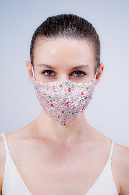 Ear Loop - Net Lace Mask (Dusty Pink)