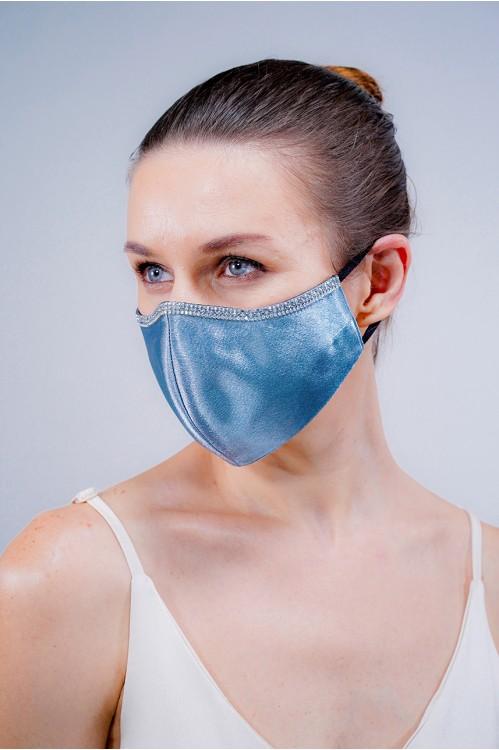 Ear Loop - Satin Silk Crystal Mask (Ash Blue)