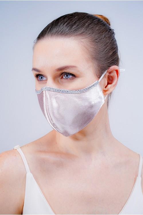 Ear Loop - Satin Silk Crystal Mask (Nude Blush)