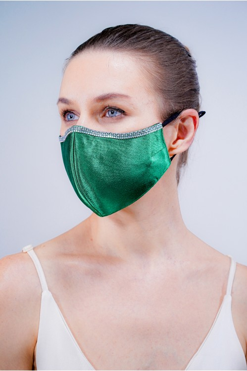 Ear Loop - Satin Silk Crystal Mask (Emerald)